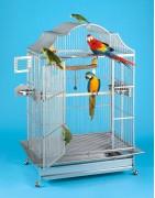 Fågelburar av rostfritt stål.